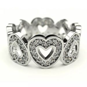 NEW•Silver Band of Hearts w/White topaz size 7/8/9